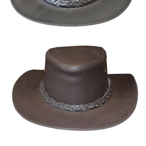 LEATHER COWBOY WESTERN STYLE BUSH HAT BLACK / BROWN CE138