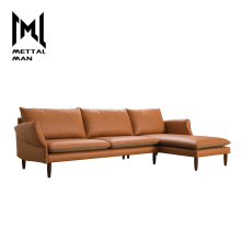 Modern contemporary Orange furniture sofas living room synthetic leather 3 seater sectional sofas