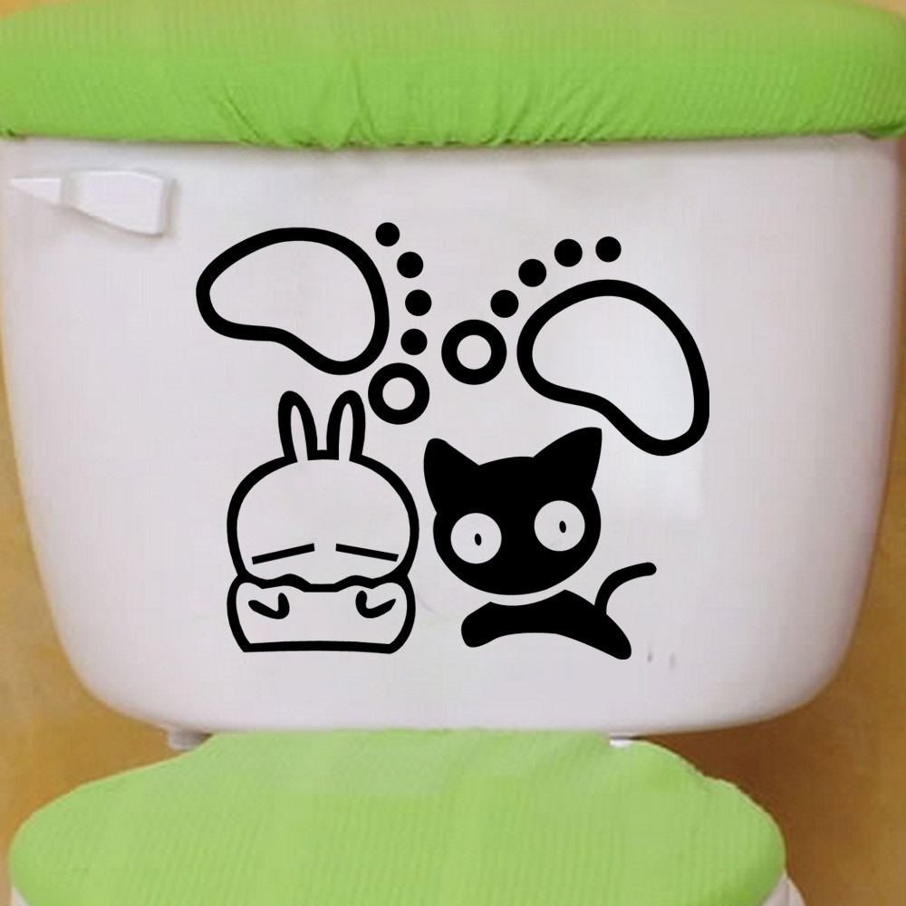 Cute Home Decoration Toilet Sticker Funny Bathroom Wall Stricker