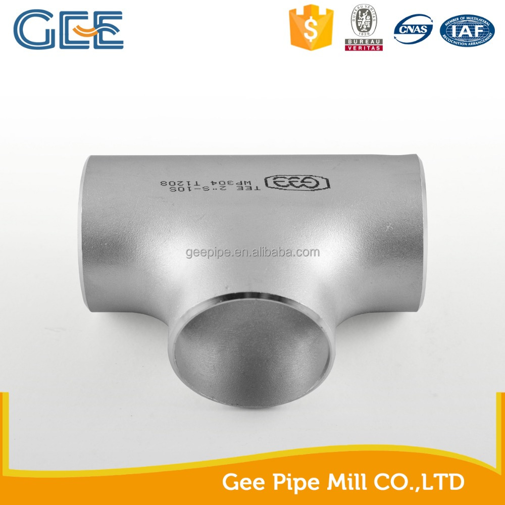 Stainless steel pipe fitting SS304 Schedule 40 straight tee