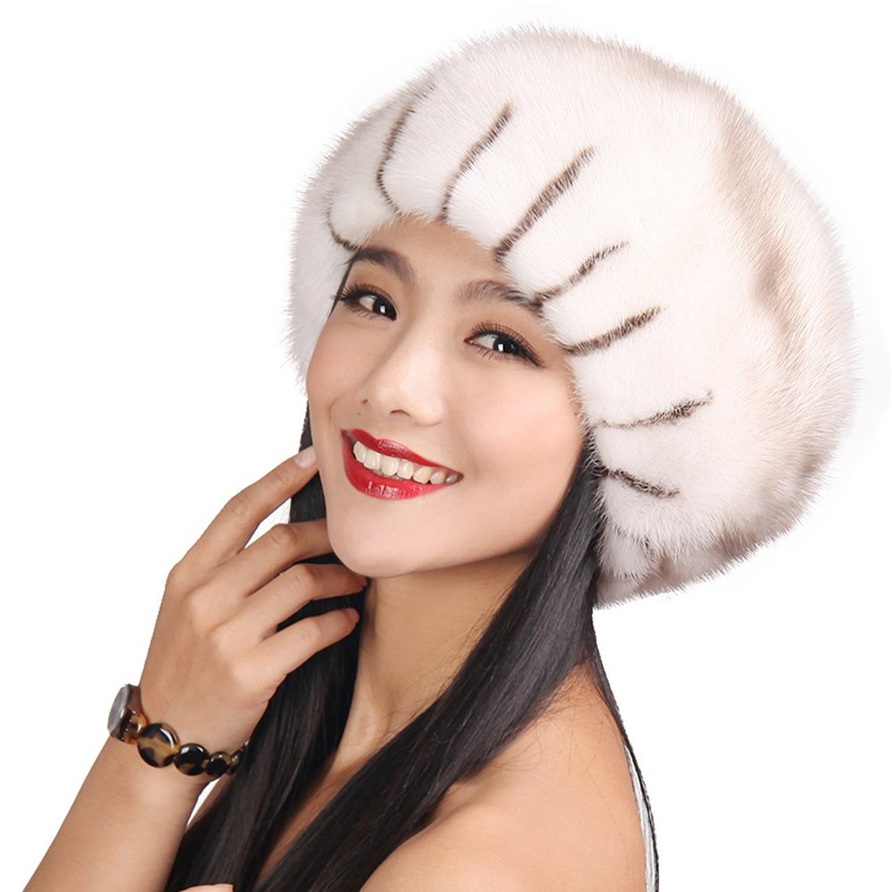 f79e8483b3561 Get Quotations · Mink Fur Roller Hat with Mink Top White