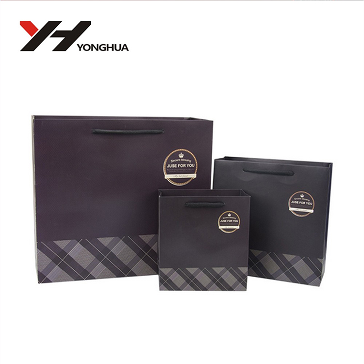 Factory Fancy Black Background Custom Logo Printing Paper Gift Bag