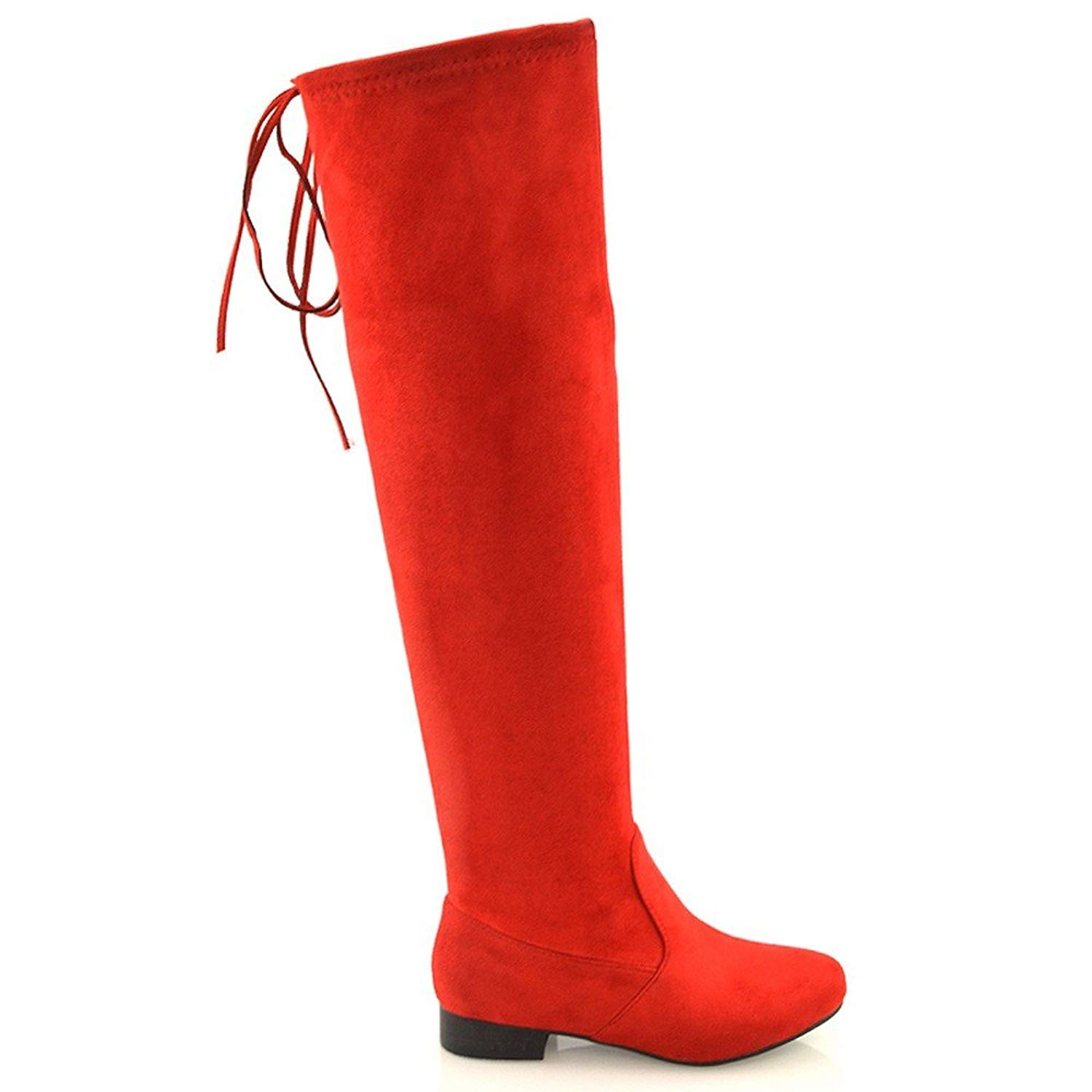 403784e440c Get Quotations · ESSEX GLAM Womens Over The Knee Boots Tie Up Flat Lace Zipper  Stretch Boots