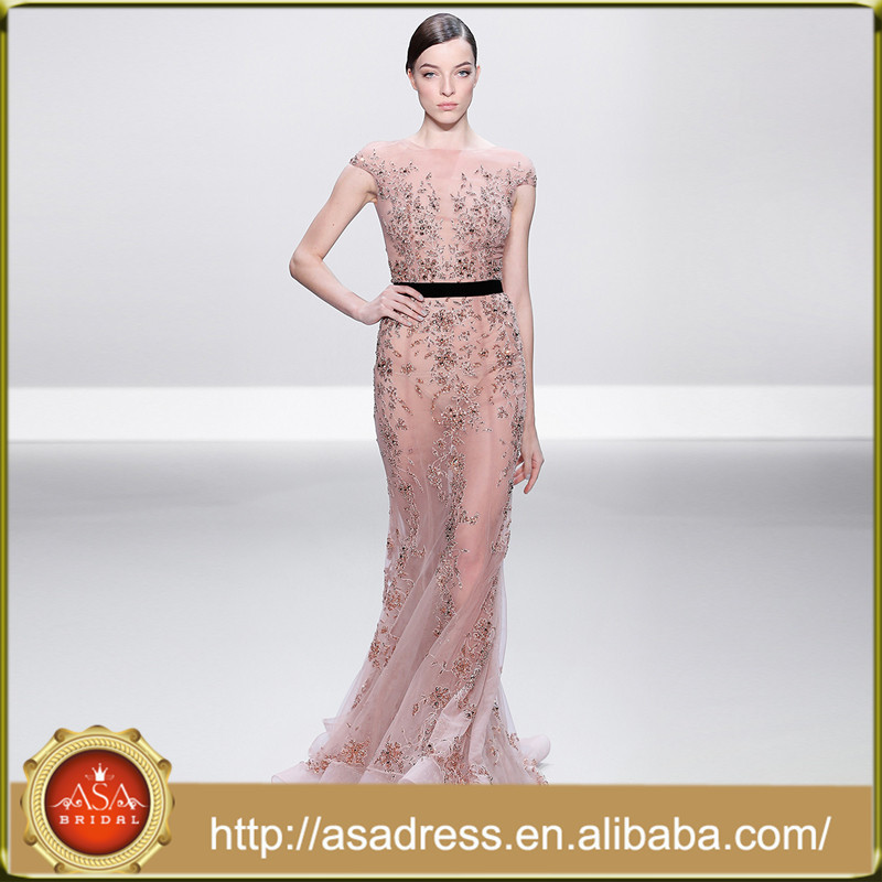 RNRS-3 Top Quality See Through Cap Sleeve Evening Dresses Nude Sheer Crystal Beads Illusion Evening Dresses in Istanbul