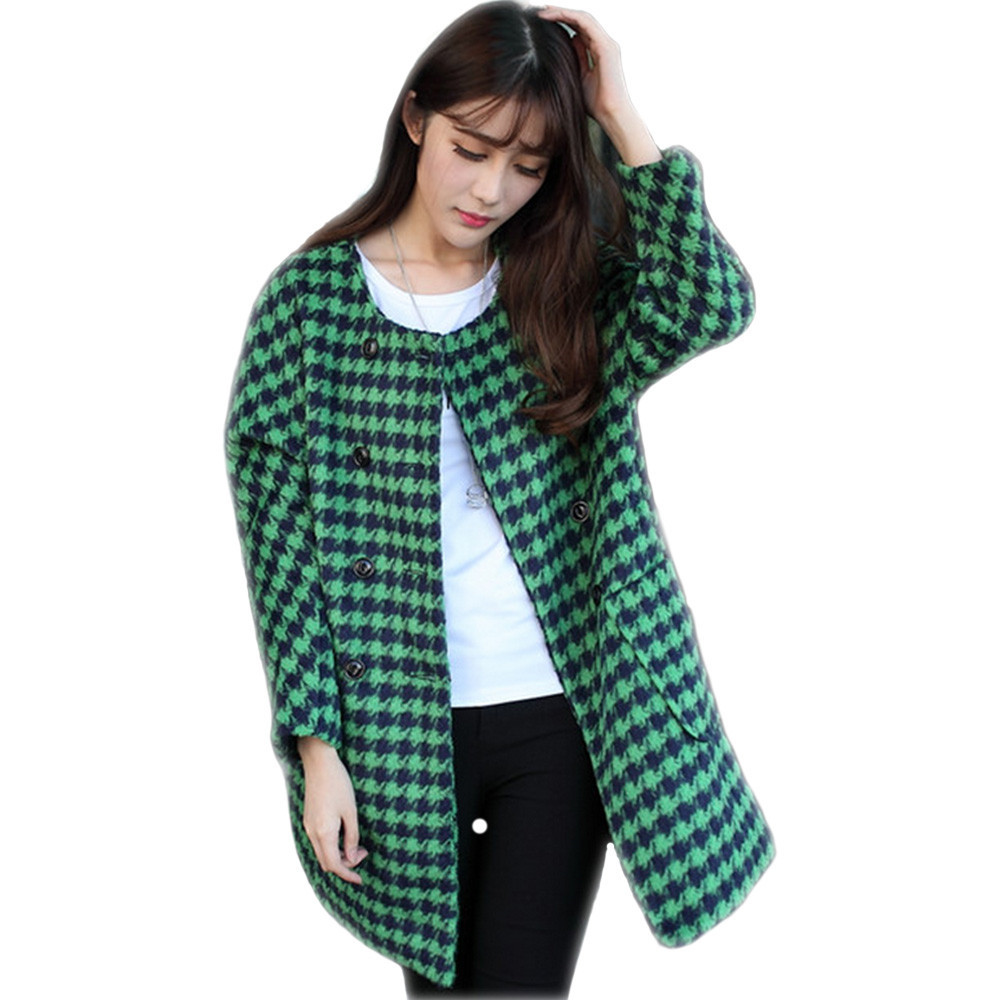 0bb79603d316d Get Quotations · Green Wool Houndstooth Coat 2015 New Fashion Women S Slim  Long Sections Wool Blended Coat Winter Womens