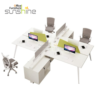 Top Quality Office Furniture Modern 4 Seater White Color Workstation
