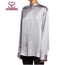 Custom office long sleeve satin silk plain women blouse with buttons