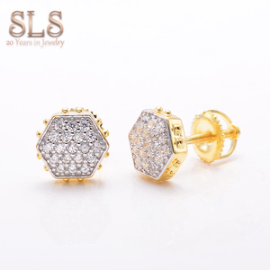 Wholesale Cheap Hiphop New Style Gold Filled Fashion Men Earrings Studs Jewellery Diamond Ear Rings Jewelry For Men