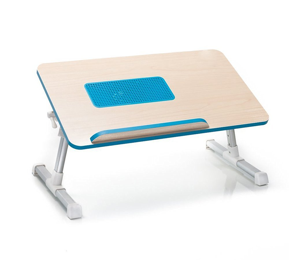 Natura-Bam All Natural Wooden Laptop Computer Desk - Built in Cooling Fan - Adjustable - Portable (Blue)