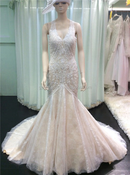 Alibaba China Champagne Halter Keyhole Open Back Lace Appliqued Big Mermaid Tail Sexy Wedding Dress For