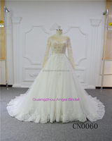 Long sleeve lace sexy champagne stunning luxury bridal ball gown wedding dresses
