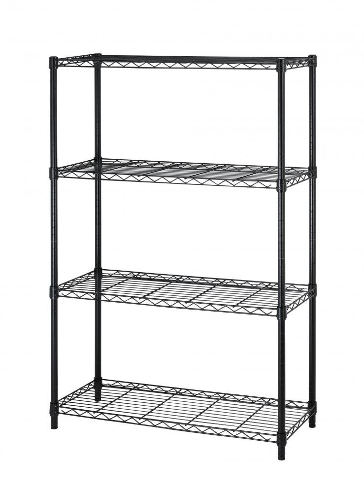 NSF Wire Shelf Metal 4shelf Wire Shelving Unit Garage Large Storage Shelves Heavy Duty Height Adjustable Utility Commercial Grade Steel Layer Shelf Rack Organizer for Kitchen Bathroom Bedroom,Black
