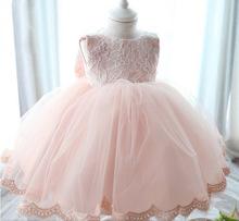 Elegant Girl Dress Girls 2015 Summer Fashion Pink Lace Big Bow Party Tulle Flower Princess Wedding Dresses Baby Girl dress,0-2Y