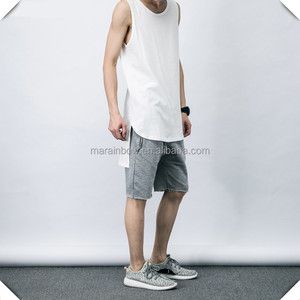 fashion stylish long blank white plain tank tops streetwear hip hop tank top OEM for man with long tail