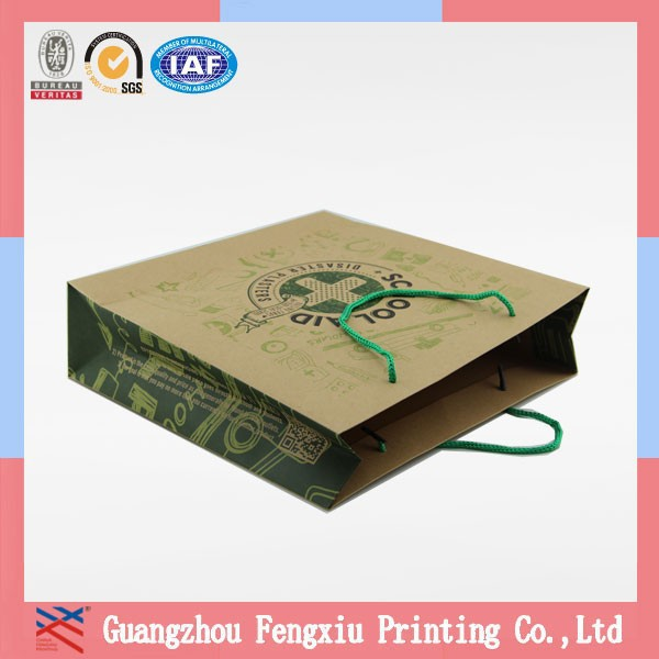 Hot Sale PP Laminated Full Color Printing 250g Kraft Paper Bag