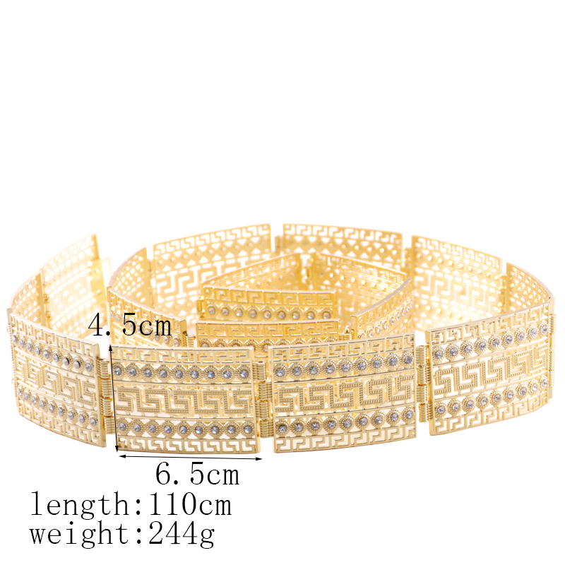 Stylish Great Wall design chic kaftan wedding gold and silver metal belt for women