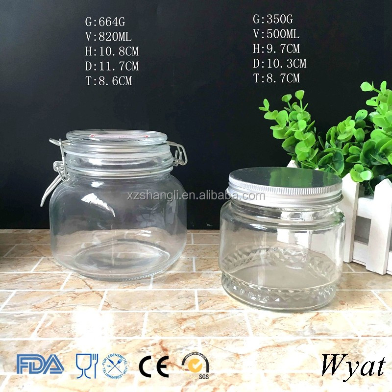 Cheap Empty Big Volume 500ml Glass Face Cream Jars with Lids
