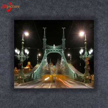 Modern street bridge telephone hall Art Picture led lighted Stretched wall art canvas print light up led canvas painting