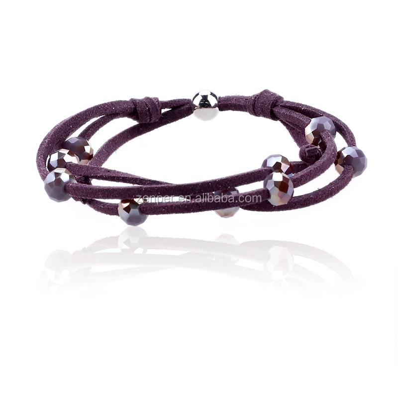 High quality purple korea velvet girl's bracelet crystal leather bracelet for gifts