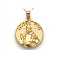 14kt Yellow Gold Padre Pio Medallion Pendant Chain Included