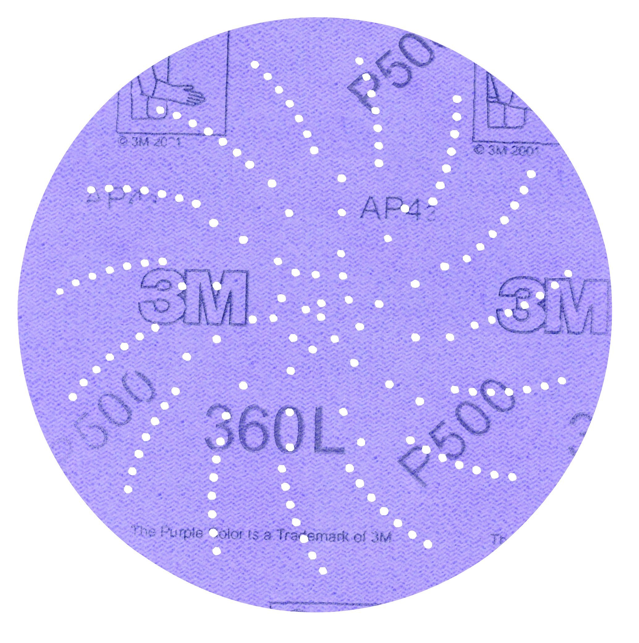 "3M Clean Sanding Disc 360L, Film, Hook and Loop Attachment, Aluminum Oxide, 5"" Diameter, P320 Grit, 01707 (Pack of 100)"