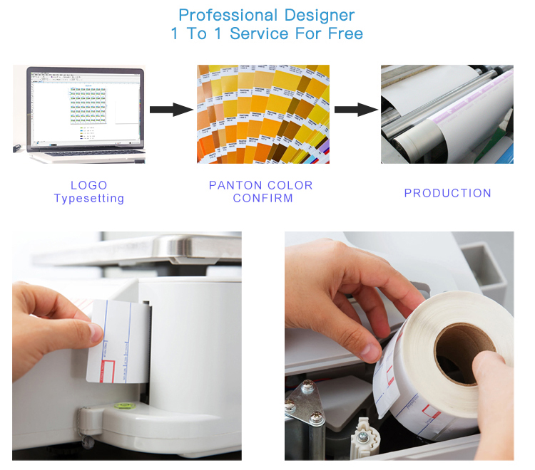 Free Sample 50x25mm Color Coated Pre Printed Self Adhesive Paper Sticker 2x1 Inch Direct Thermal Labels Rolls