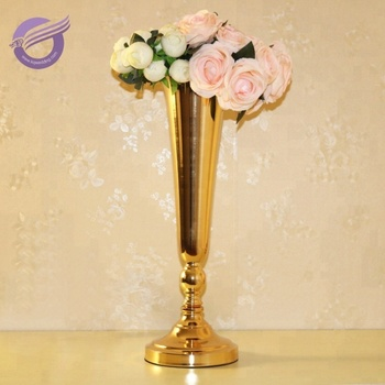 Zt00550 Wedding Centerpieces Vintage Tall Gold Metal Flower Vases