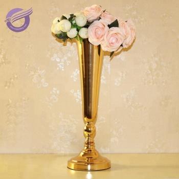 Zt00550 Wedding Centerpieces Vintage Tall Gold Metal Flower Vases