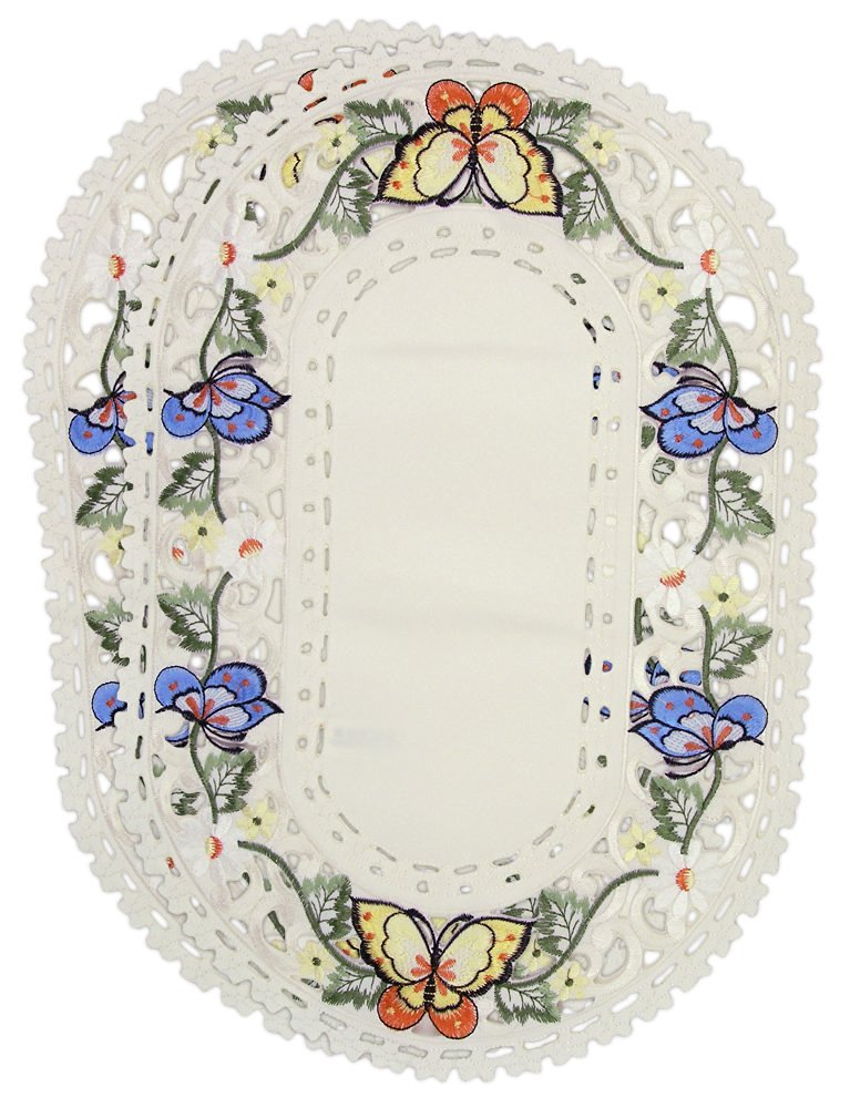 Banberry Designs Butterfly - Embroidered Placemats - Multi-Color Butterfly - Set of 2 - Approx. Size 11x17 Inch - Oval Shaped - Machine Washable