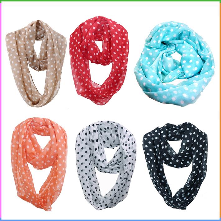 安い70 × 180センチポルカドットシフォンインフィニティスカーフ女性春夏スカーフ-マフラー、帽子、手袋セット問屋・仕入れ・卸・卸売り