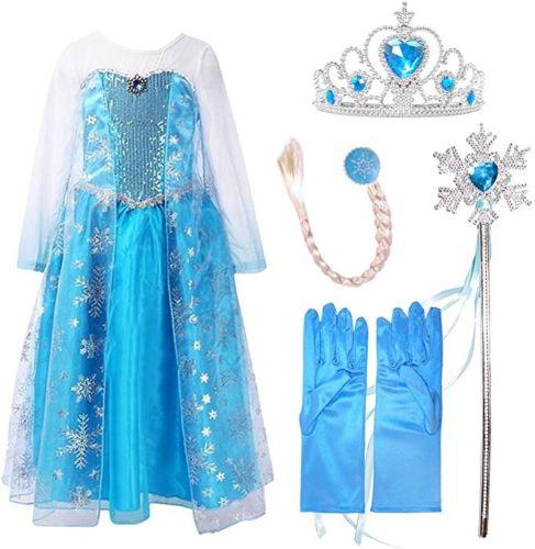 Anna,Frozen Girls Costume Fancy Dress 4 Piece Accessories Princess Elsa