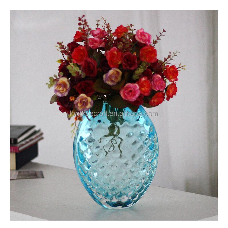 Удобные романтические украшения гостиной стол синий кристалл стекло цветок подарочная ваза