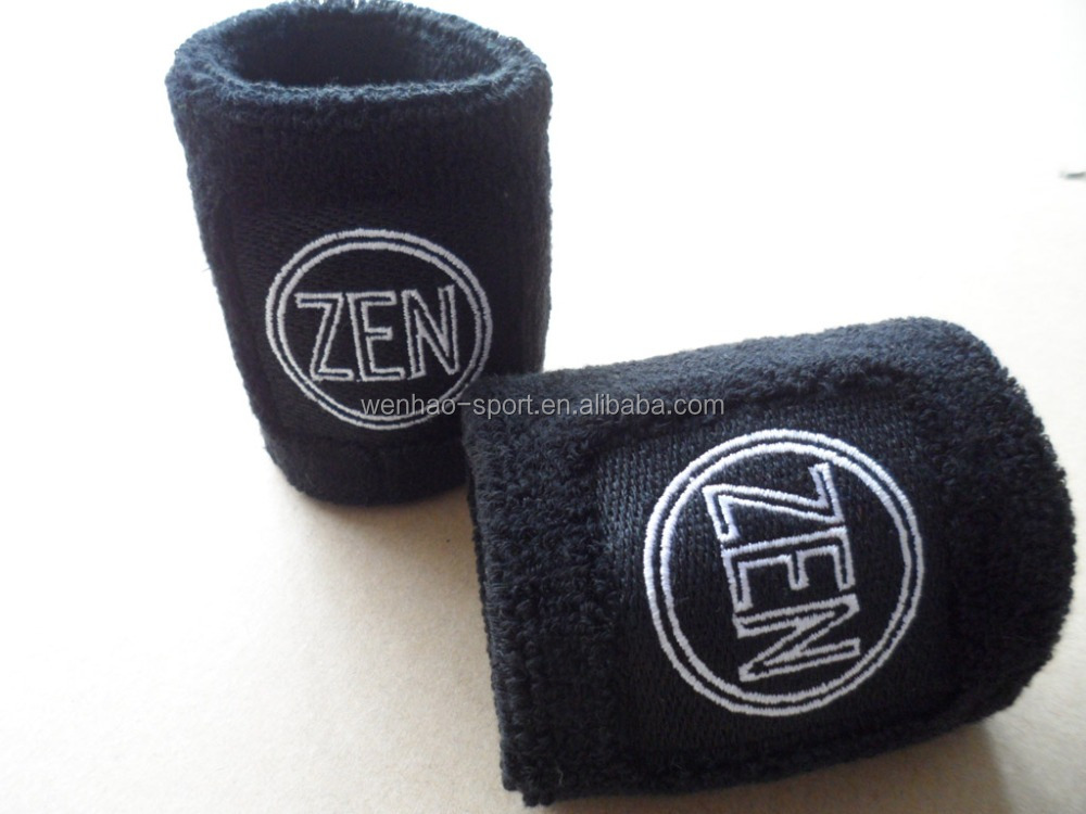 Fashion Design Promotional terry cotton toweling Custom embroidery logo sport sweatband