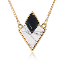 Best selling Fashion Europe Gold Plated Wholesale Double Stone Triangle Necklaces