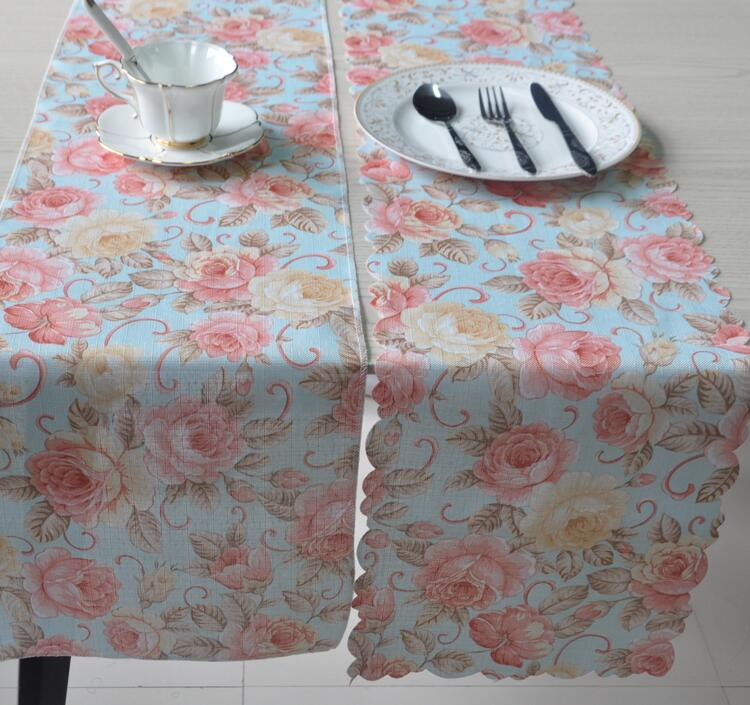 American stype colorful table runner with serging wave table cloth rim table mat for dining cheap european