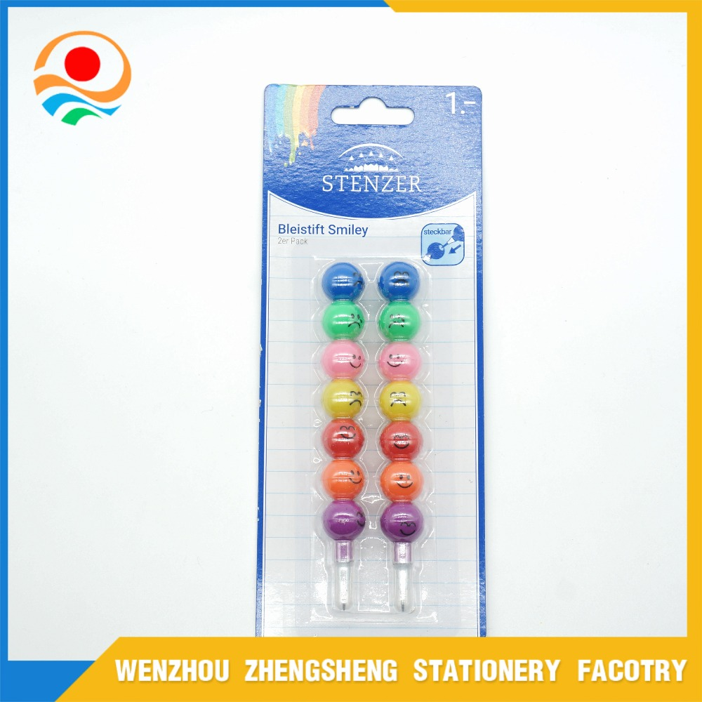 7 colors smiling face push lead pencil for kids