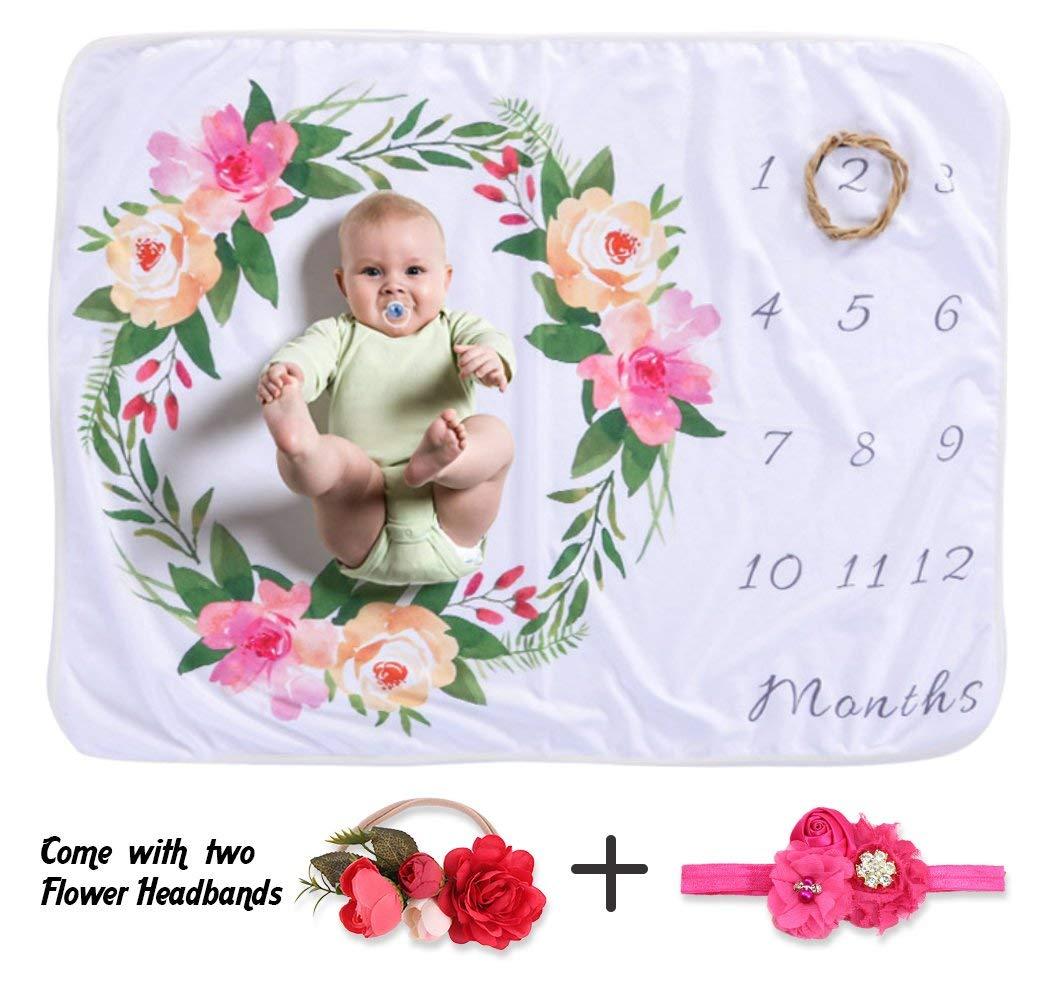NinkyNonk Soft Fleece Floral Milestone Blanket Monthly Baby Growth Blanket with Flower Headbands DIY Photography Background Props Set for Newborn Girls