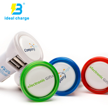 promotional fast led 2 port usb mobile car charger with lighting logo original factory