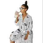 New Arrivals Fashion Women Casual Turndown Collar Single Breasted Newspaper Pattern Print Tunic Shirt Dress