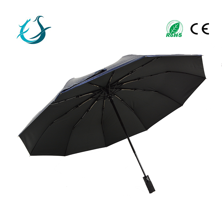 2017 high quality UV protect black coated fold umbrella with case