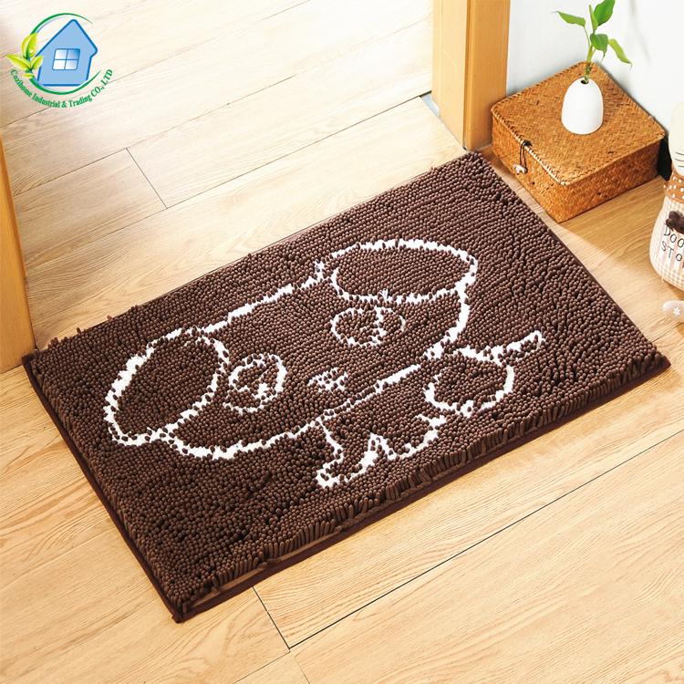 Nueva mascota cojín de piso-pelo de protección del medio ambiente Tpr inferior de alta absorbente chenilla puerta Mat
