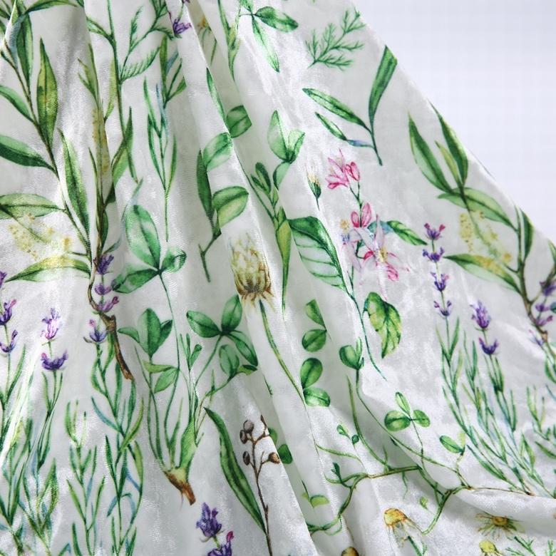 China supplier red thin velvet stretch digital custom printed lycra fabric