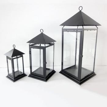 Set Of 3 Black Metal Candle Lantern