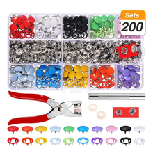 200 Set di Bottoni a pressione Kit In Metallo Prong <span class=keywords><strong>Anello</strong></span> <span class=keywords><strong>Pulsante</strong></span> Rivetti Bottoni a Pressione 9.5 millimetri 10 Colori Pinze Tool Kit per in pelle, cappotto, Giù