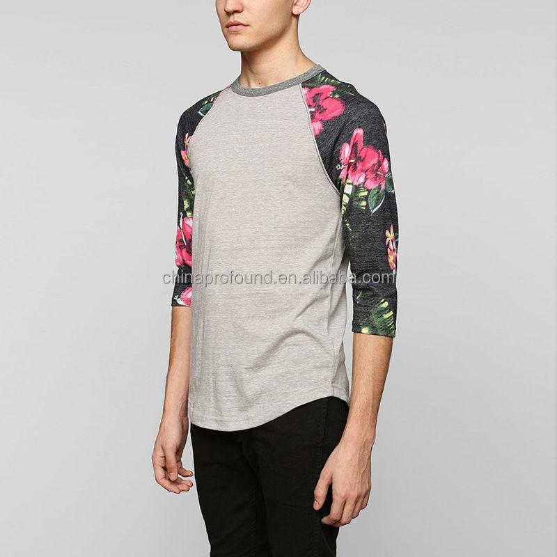 Wholesale fashion mens 3 4 sleeve raglan t shirt blank for Wholesale printing t shirts
