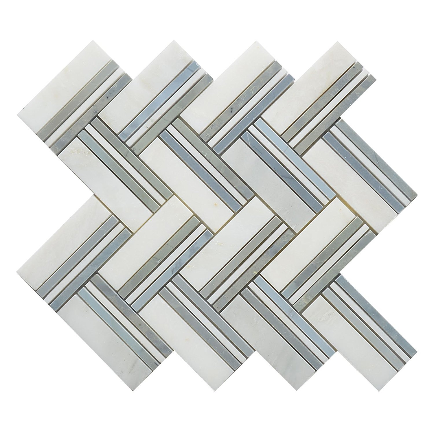 """Marble Mosaic Tile, """"Quilt Collection"""", MM 8103 - Maurice, 4""""X6"""" Big Herringbone, 12""""X11"""", Polished (Lot of 50 Sheets)"""