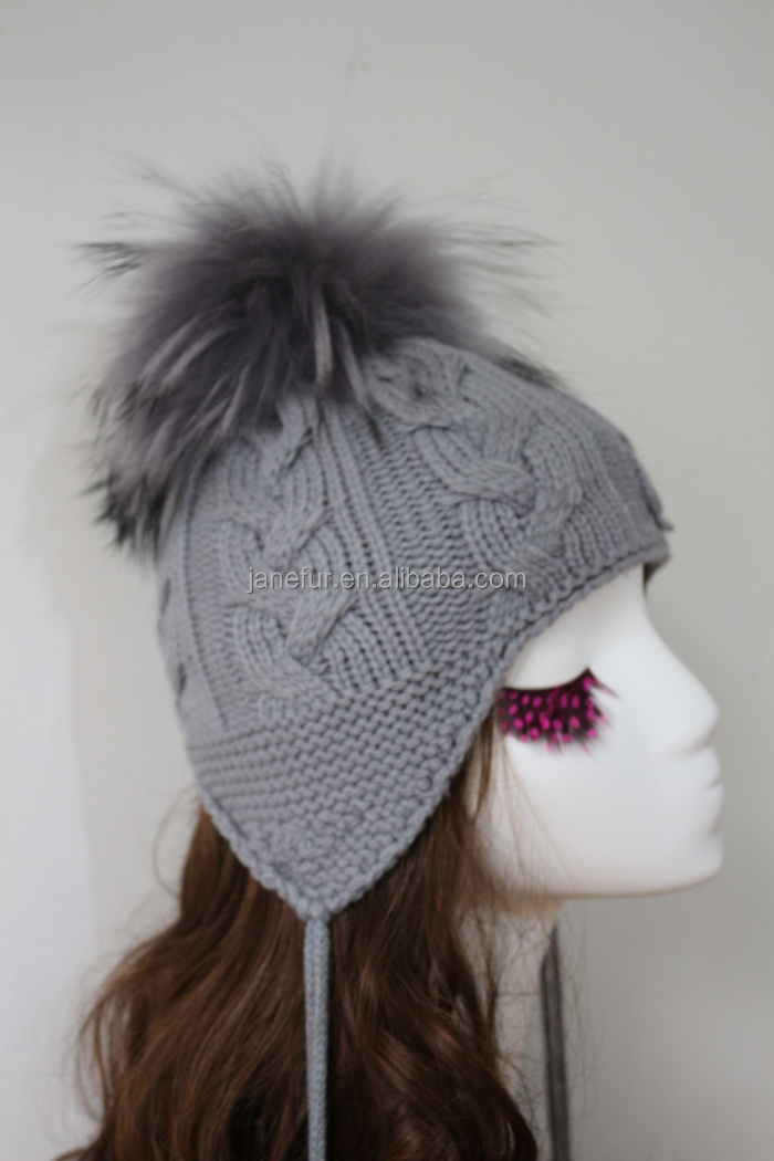 Pure Color Earflap Hat Crochet Pattern Young Girls Lovely Fur Pom