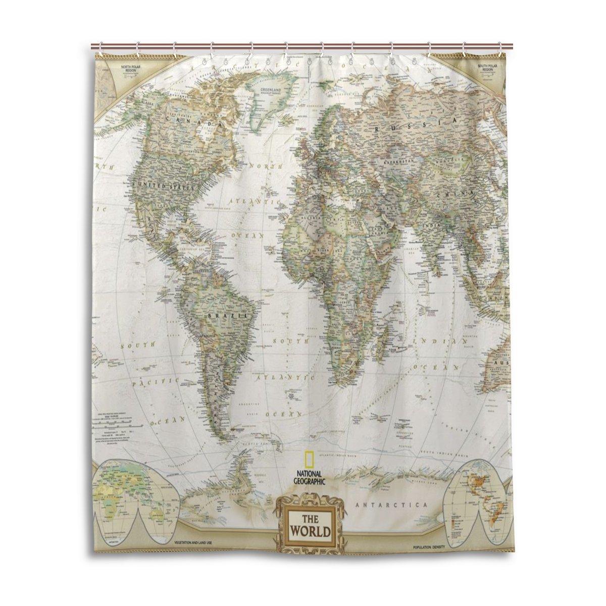 Buy Bath Shower Curtain 60x72 Inch Fashion Vintage World Map