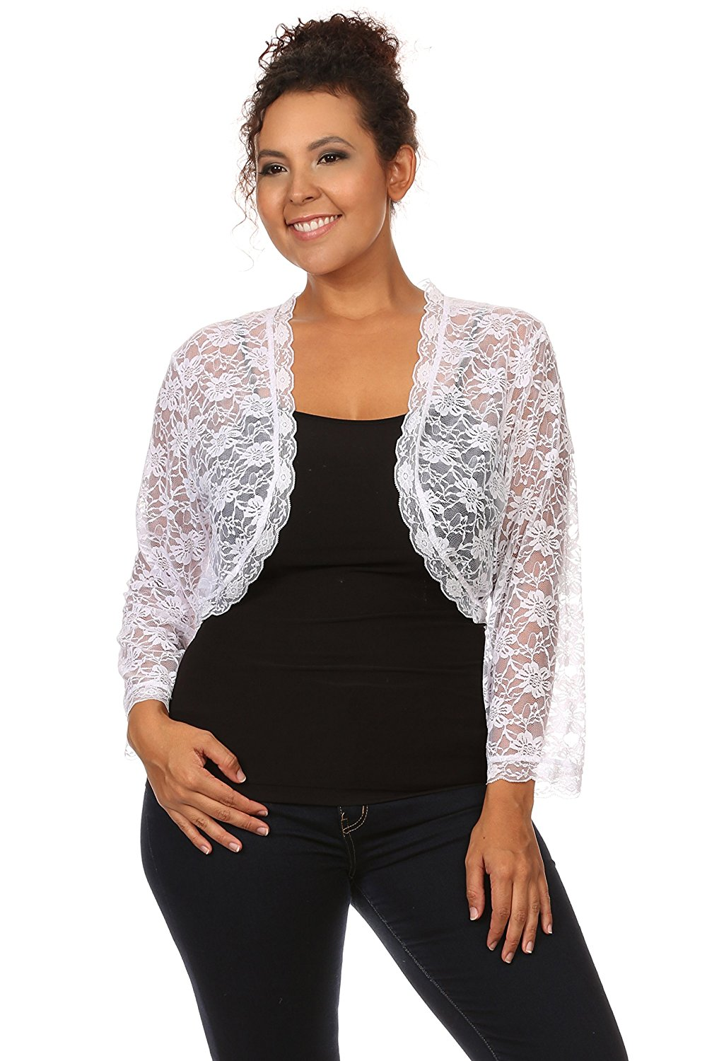 7a528b59f39 Buy Womens Plus Size Long Sleeve White Open Front Shrug Cardigan in ...