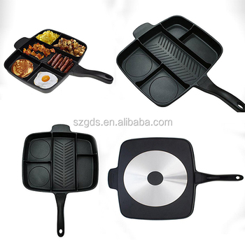 Export Amazon supply Non-Stick square Divided Grill/Fry/Oven Meal Skillet divided frying pan 5 in 1 Black
